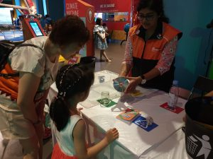 Visitors review how to sort recyclable materials.